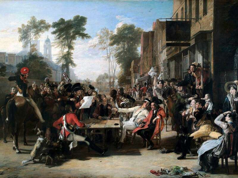 Sir David Wilkie's painting, The Chelsea Pensioners reading the Waterloo Dispatch (c.1822), used the representation of a black soldier to pay tribute to Wellington's role in abolition in France