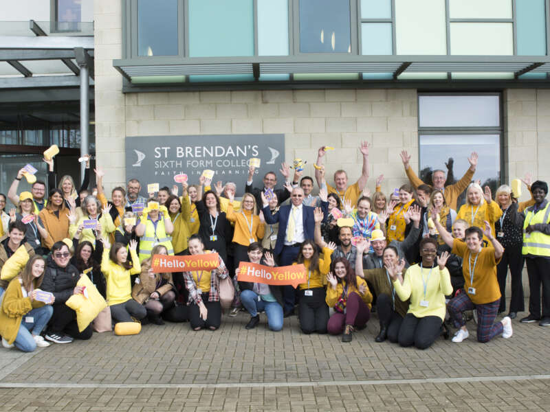 St Brendan's staff sporting every shade of yellow in support of #HelloYellow 2019